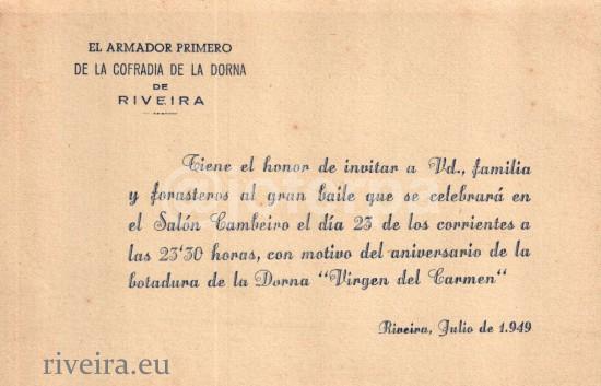 1949 Invitación da festa da dorna o segundo ano da súa creación. Arquivo Joferpa-Dorna